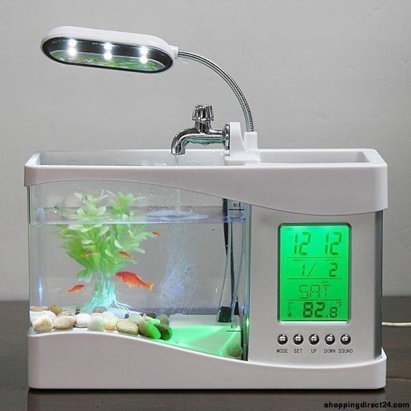Usb Mini Fish Tank Desktop Electronic Aquarium With Water Running Led Pump Light Calendar Clock