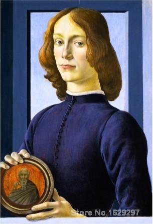 Sandro Botticelli High Quality Hand Painted 1480 1485 PORTRAIT OF A YOUNG MAN HOLDING A MEDAILLON Famous