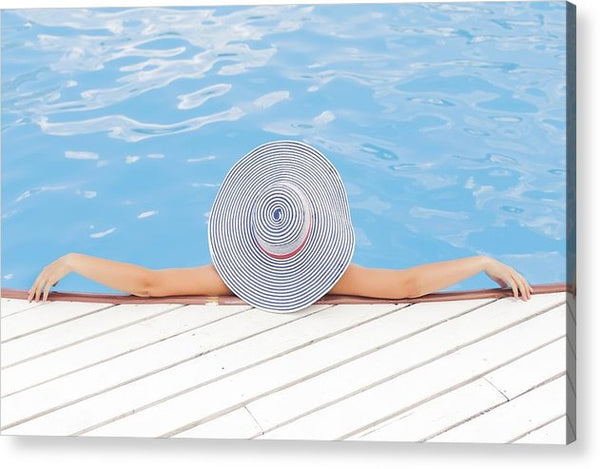 Woman Pool Beach Vacations Relax - Acrylic Print