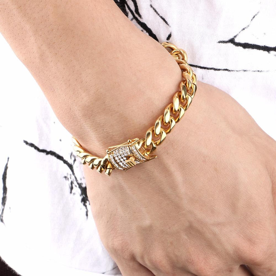 18K Gold, 10mm Miami Iced Clasp Cuban Bracelet