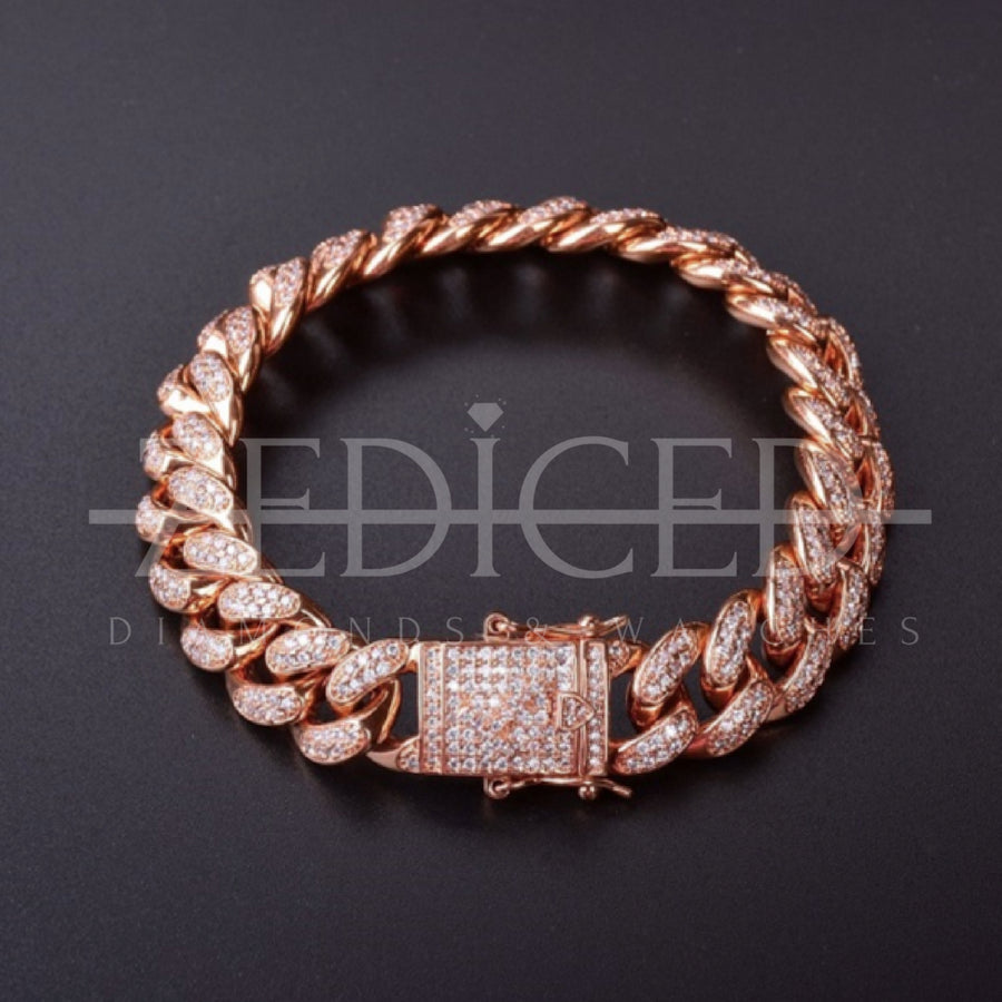 18K, 14MM Rose Gold Miami Cuban Bracelet - zediced