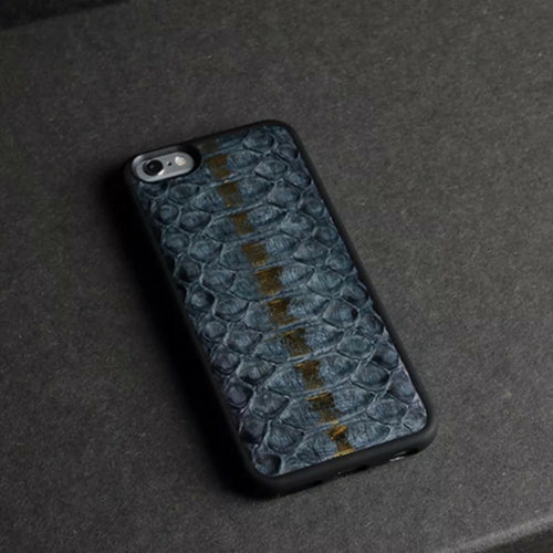 Navy Blue Royal Gold Stripe Python iPhone Case - zediced