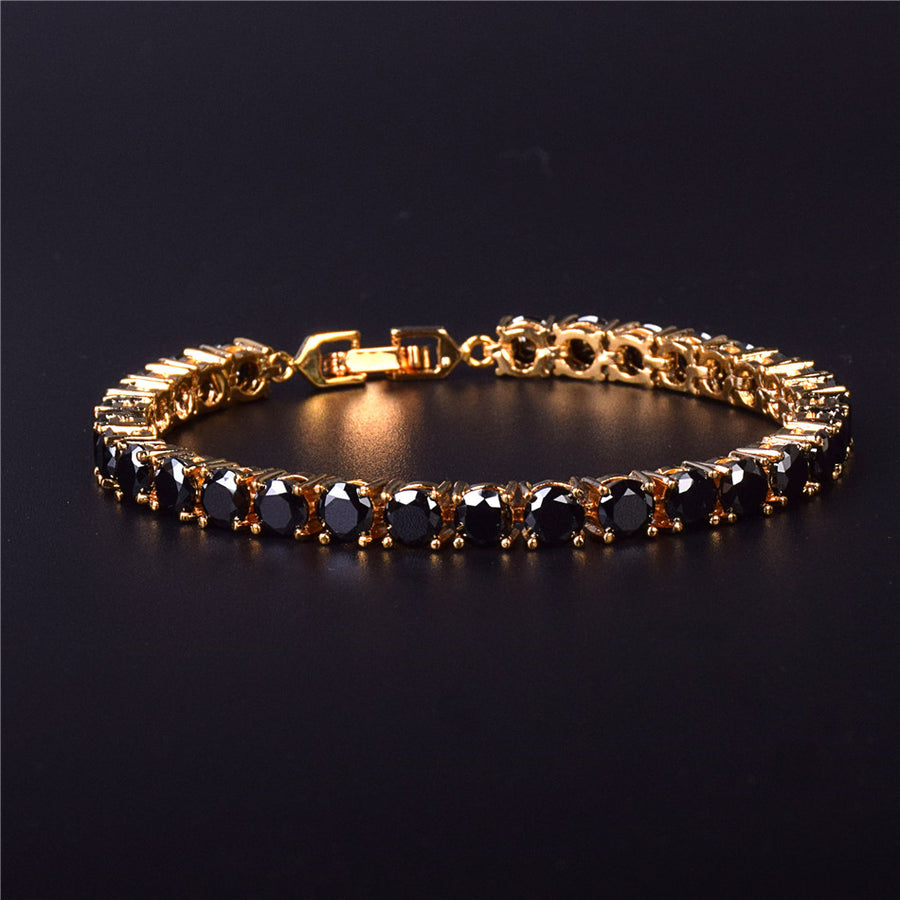 4-6MM, 18K Gold - Black Diamond Tennis Bracelet