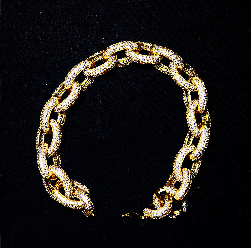 18K Gold, 12mm Link Chain Bracelet - zediced