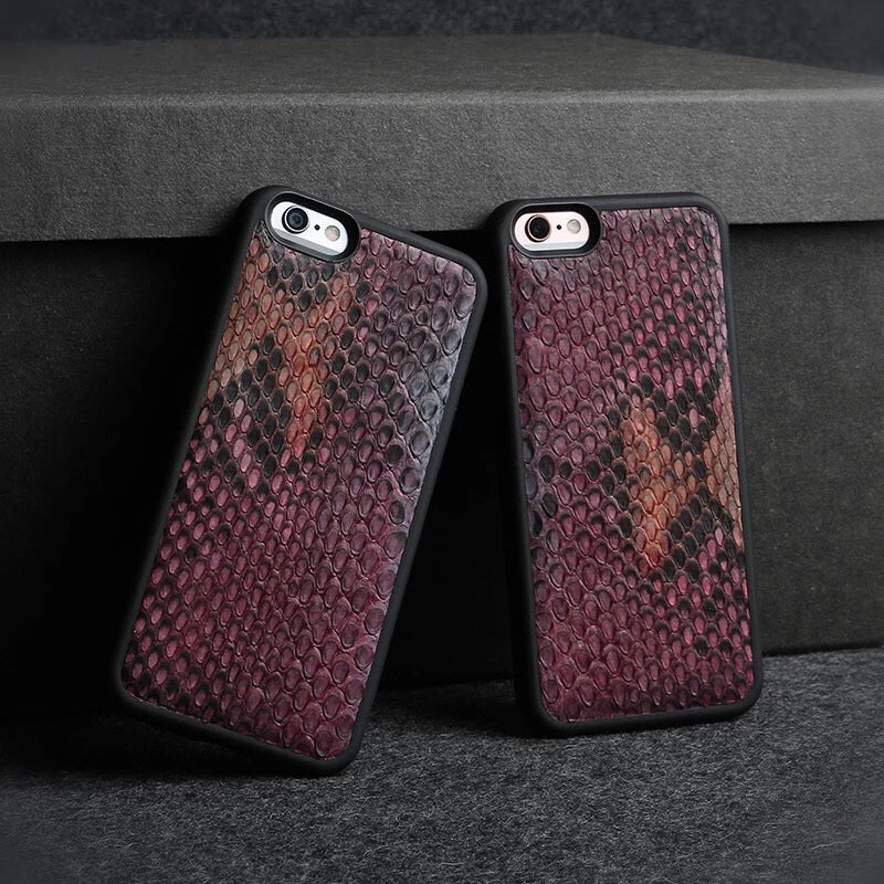 Double Tone Maroon Snakeskin iPhone Case