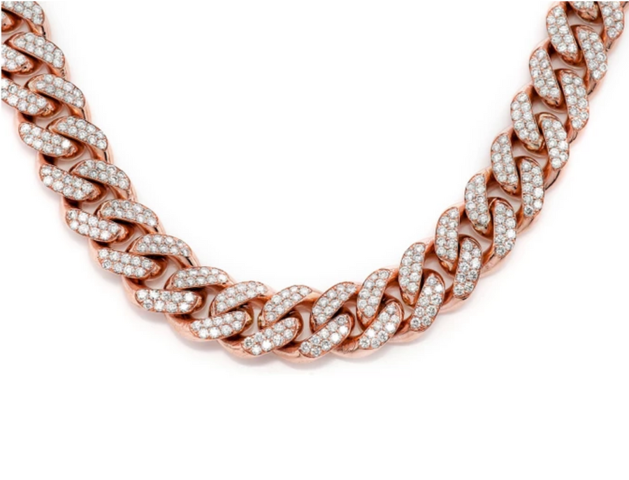 18K Rose Gold, Royal Miami Cuban Chain Necklace - zediced