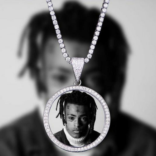 18K White Gold, Iced Custom Photo Pendant - zediced