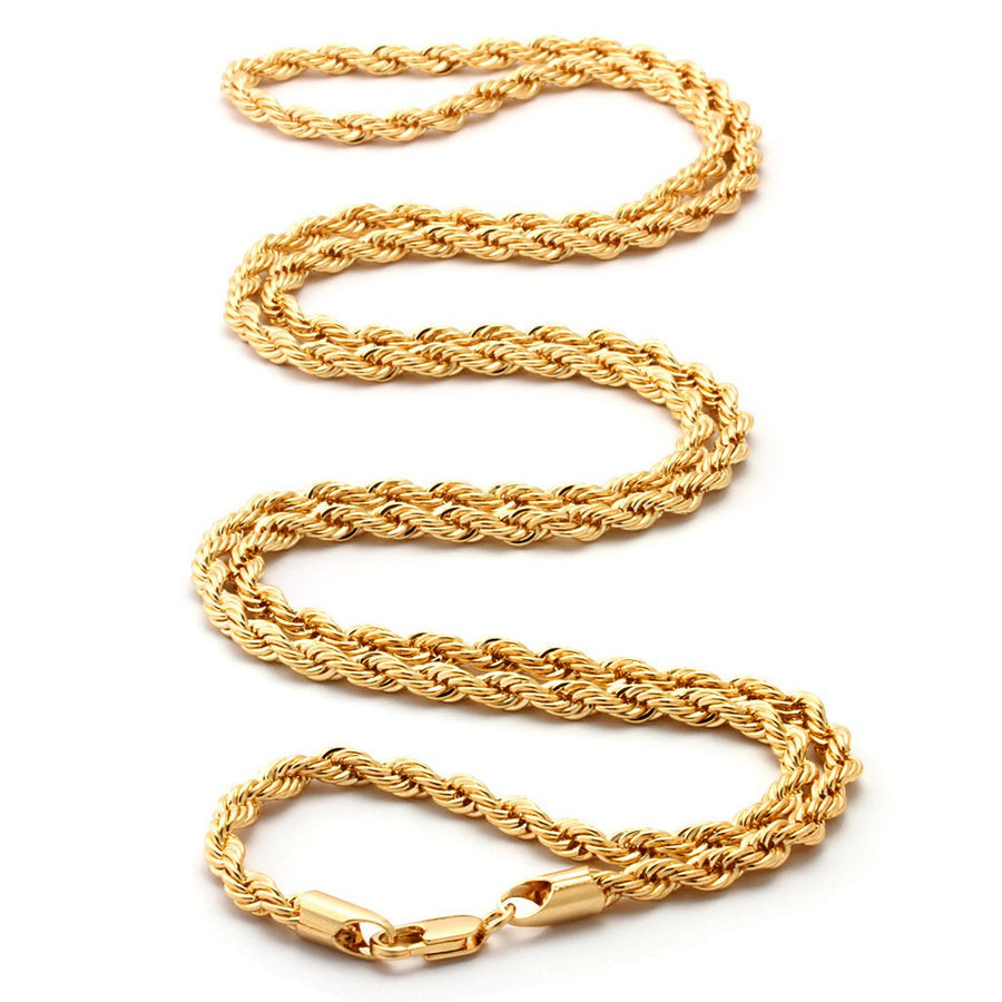 6-9MM, 18K Gold Rope Chain - zediced