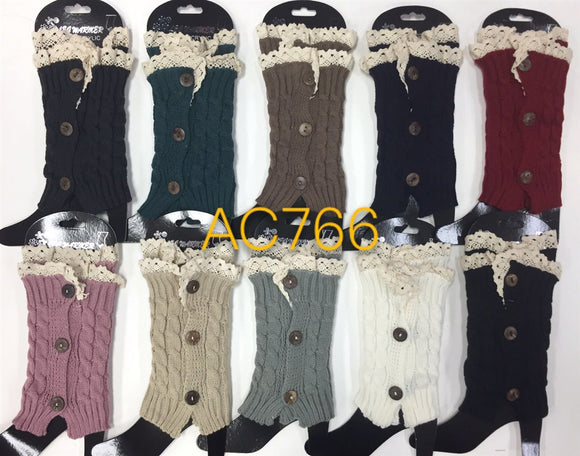 Wholesale Cable Knit Short Leg Warmers Boot Cuffs AC766 - OPT FASHION WHOLESALE