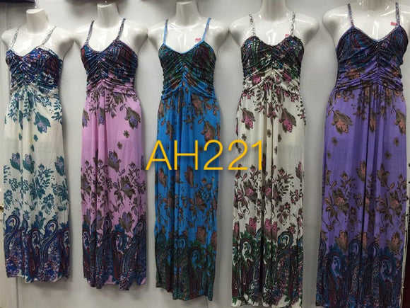 NYC Wholesale Fashion Long Maxi Flower Dresses Summer Sundresses, AH221 - OPT FASHION WHOLESALE