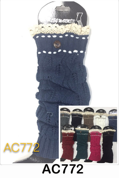 Wholesale Cable Knit Long Leg Warmers Boot Cuffs AC772 - OPT FASHION WHOLESALE