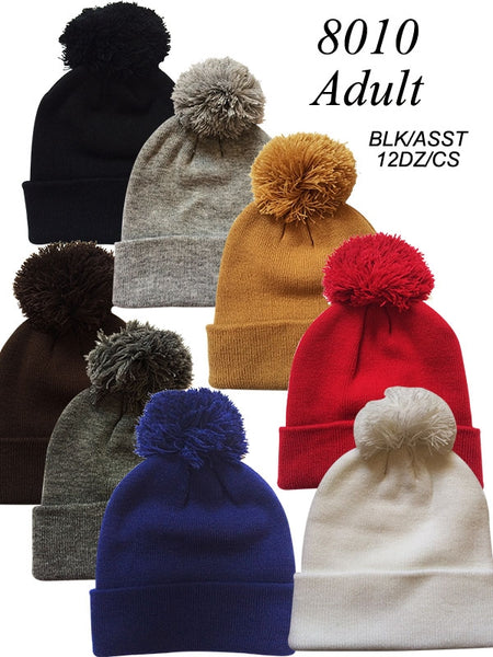 Wholesale Adult Cuffed Knit Ski Hat with Pom Beanie, H8010 - OPT FASHION WHOLESALE