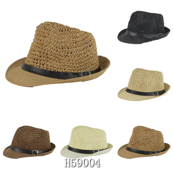 Wholesale Summer Straw Fedora Hats Unisex H59004 - OPT FASHION WHOLESALE