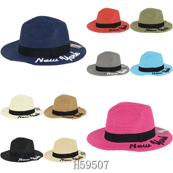 Wholesale Summer Sun Straw Wide Brim Hats H59507 - OPT FASHION WHOLESALE