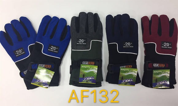 Wholesale Fleece Insulation Ski Gloves Velcro Strap AF132 - OPT FASHION WHOLESALE