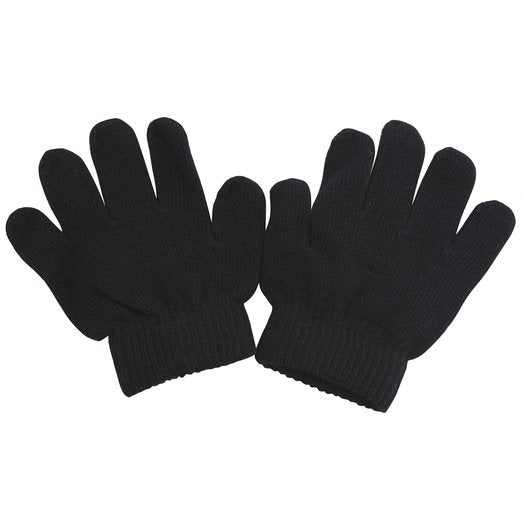Kids Children Magic Knit Solid Black Color Gloves GS0815/9110 - OPT FASHION WHOLESALE