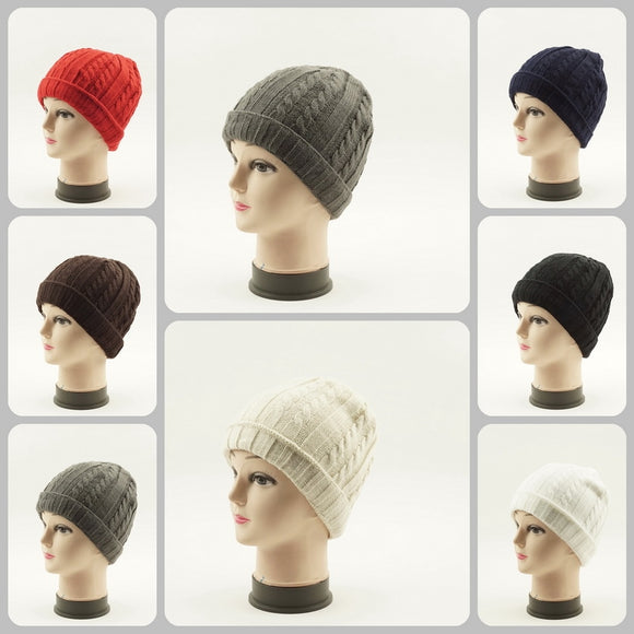Knit Cuffed Beanie Solid Hats H50060 - OPT FASHION WHOLESALE