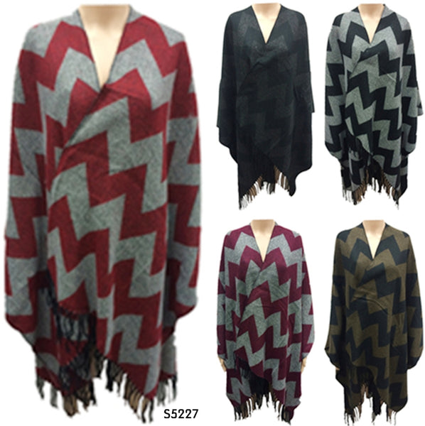 Chevron Zig Zag Stripe Ponchos Tops Capes Wraps Assorted Colors, PS5227/AB470 - OPT FASHION WHOLESALE