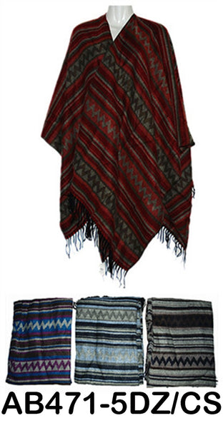 Pashmina Chevron Zig Zag Stripe Poncho Wraps Scarf, AB471/PS5225 - OPT FASHION WHOLESALE
