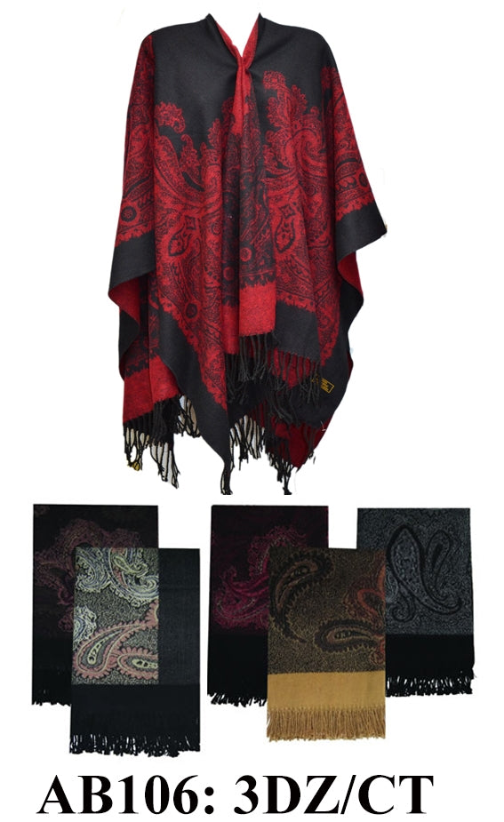Pashmina Paisley Print Scarf Ponchos, AB106 - OPT FASHION WHOLESALE