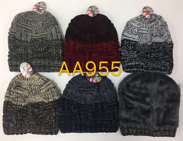 Wholesale Knit Fur Lining Beanie Hats AA955 - OPT FASHION WHOLESALE