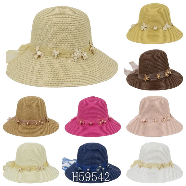 Wholesale Summer Sun Straw Fedora Bucket Hats H59542 - OPT FASHION WHOLESALE