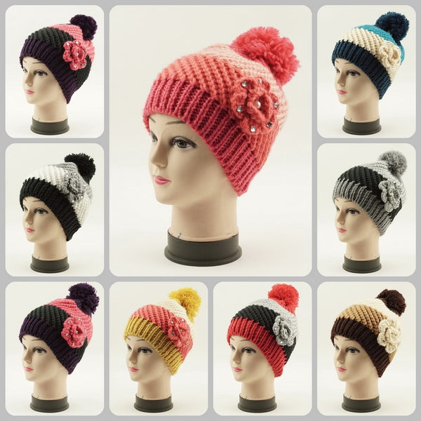 Wholesale Hand Knit Crochet Pom Flower Hat H53032 - OPT FASHION WHOLESALE