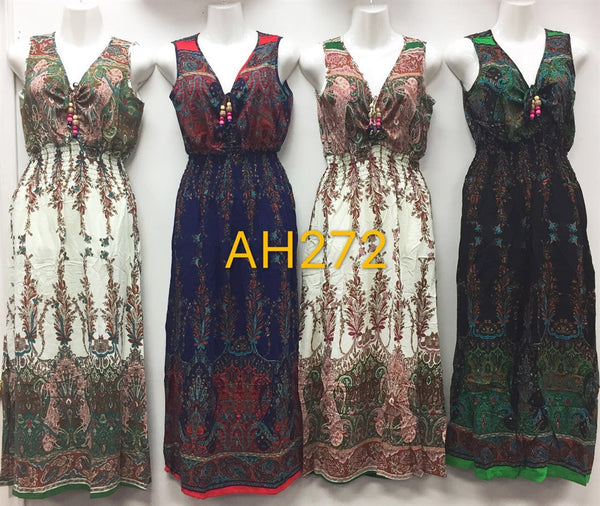 NYC Wholesale Fashion Long Maxi Flower Dresses Summer Sundresses, AH272 - OPT FASHION WHOLESALE