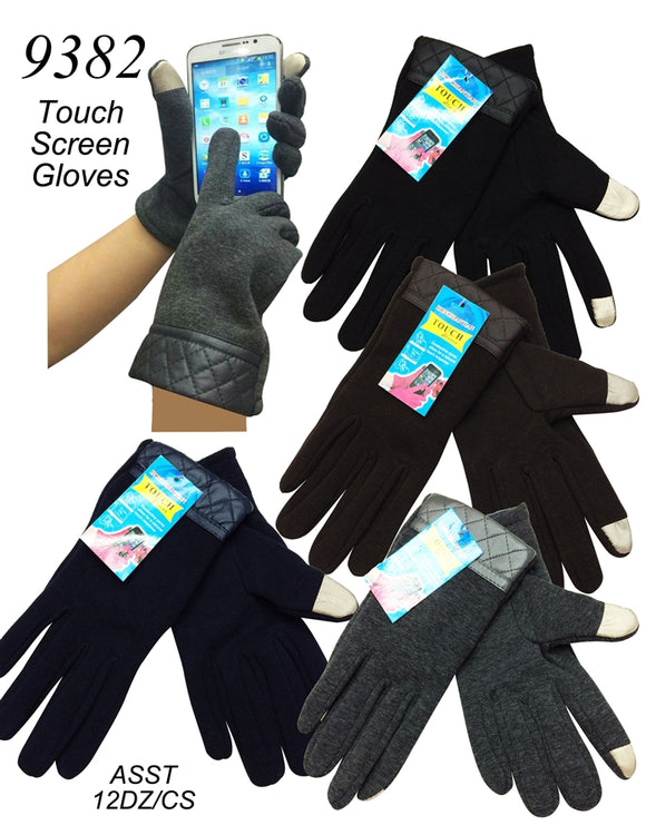 Lady Touch Screen Drive Gloves W/Leather Trim G9382 - OPT FASHION WHOLESALE