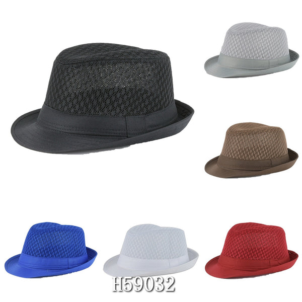 Wholesale Summer Sun Mesh Fedora Hats H59032 - OPT FASHION WHOLESALE