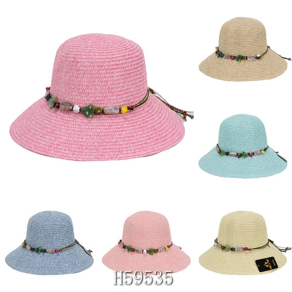 Wholesale Summer Sun Straw Fedora Bucket Hats H59535 - OPT FASHION WHOLESALE