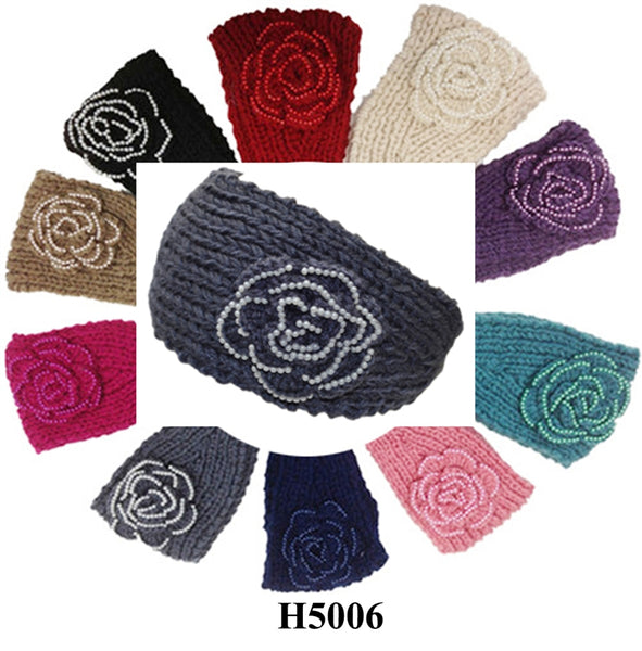 Handmade Headwear Pearl Like Crochet Knit Headwrap Headband AB5211 - OPT FASHION WHOLESALE