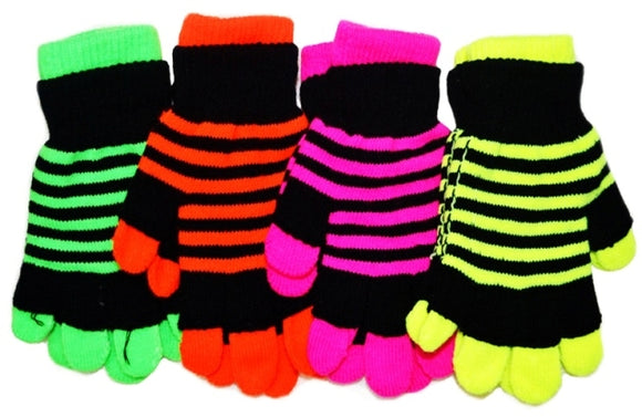 Two Gloves in One Neon Magic Knit Gloves G9102 - OPT FASHION WHOLESALE