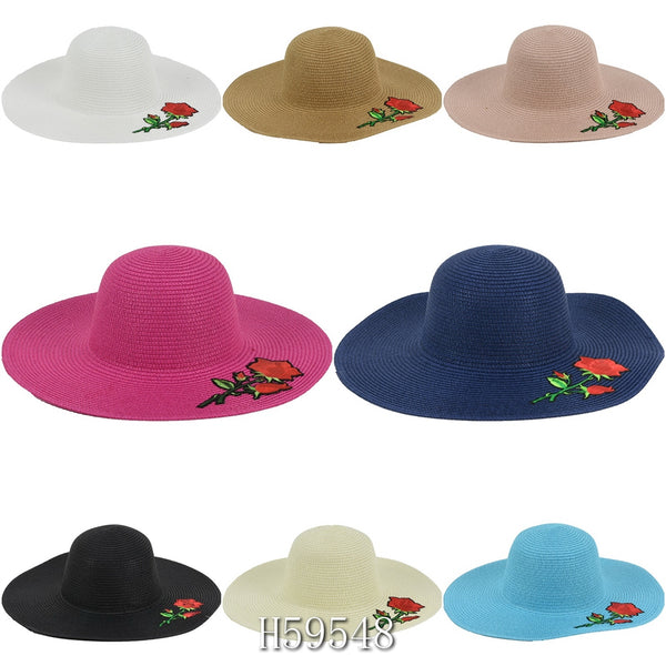Wholesale Summer Sun Straw Hat Floppy Beach Cap H59548 - OPT FASHION WHOLESALE