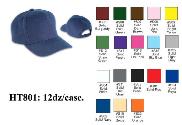 First Quality Plain Solid Color Baseball Caps Hats HT801