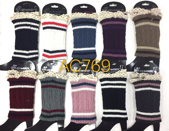Wholesale Cable Knit Short Leg Warmers Boot Cuffs AC769 - OPT FASHION WHOLESALE
