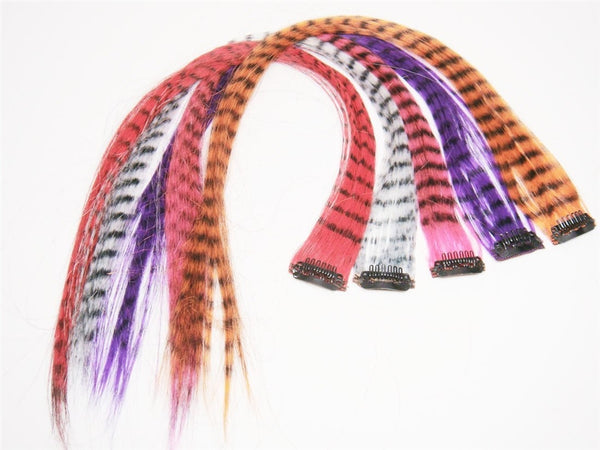 Wholesale Clip In On Fashion Grizzly Feather Print Hair Extensions H0911 - OPT FASHION WHOLESALE