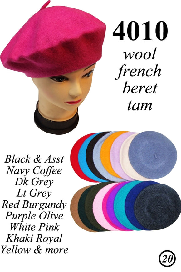 Wholesale 100% Wool French Beret Tam Hats Caps 4010 - OPT FASHION WHOLESALE