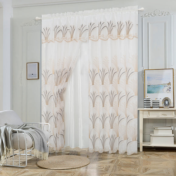 Elegance Sheer Voile 2 Layers Rod Pocket Window Curtain Panel, FF1018
