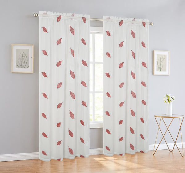 Elegance Sheer Voile Leaf Rod Pocket Window Curtain Panel, FF1023 - OPT FASHION WHOLESALE