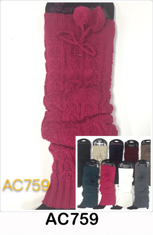 Wholesale Cable Knit Long Leg Warmers Boot Cuffs AC759 - OPT FASHION WHOLESALE