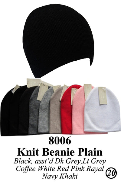 Wholesale Knit Solid Short Plain Beanie Hats H8006 - OPT FASHION WHOLESALE