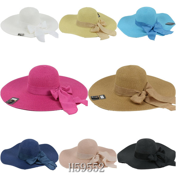 Wholesale Summer Straw Wide Brim Bucket Hats H59552 - OPT FASHION WHOLESALE