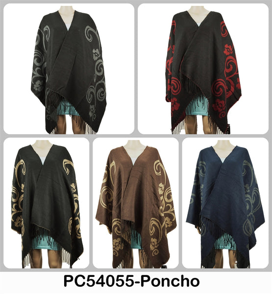 Wholesale Paisley Print Ponchos Tops Capes Wraps Assorted Colors PC54055/AB101 - OPT FASHION WHOLESALE