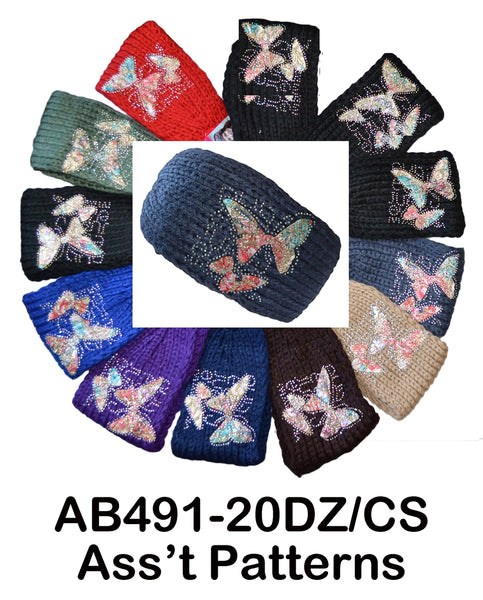 Handmade Headwear Butterfly Crochet Knit Headwrap Headband AB491-1 - OPT FASHION WHOLESALE