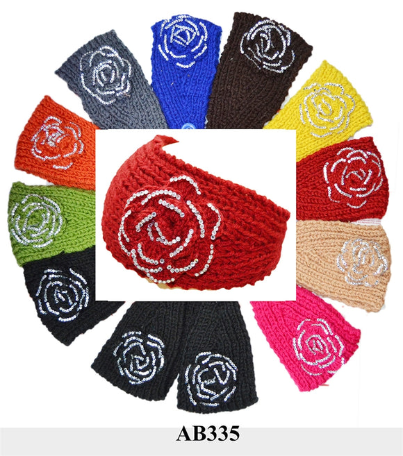 Handmade Headwear Flower Crochet Knit Headwrap Headband AB335 - OPT FASHION WHOLESALE