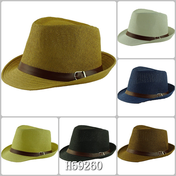 Wholesale Summer Sun Straw Fedora Hats H59260 - OPT FASHION WHOLESALE