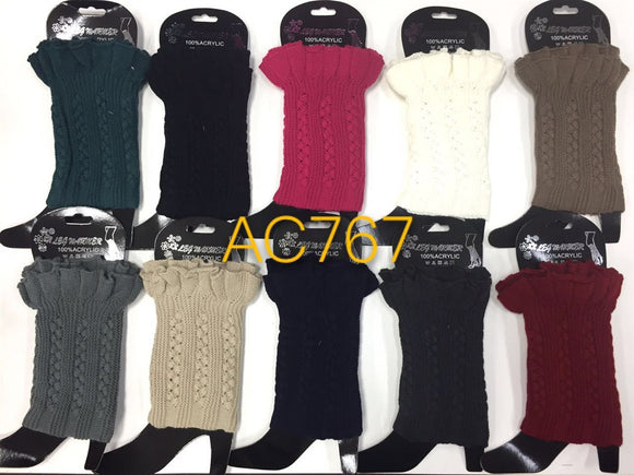 Wholesale Cable Knit Short Leg Warmers Boot Cuffs AC767 - OPT FASHION WHOLESALE
