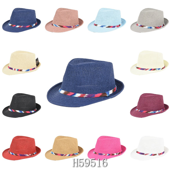 Wholesale Summer Sun Straw Fedora Bucket Hats H59516 - OPT FASHION WHOLESALE