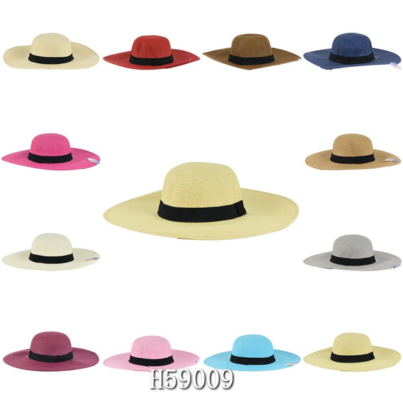 Wholesale Summer Straw Fedora Hats Unisex H59009 - OPT FASHION WHOLESALE